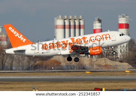 PRAGUE, CZECH REPUBLIC - FEBRUARY 05: EasyJet Airline Airbus A319-111 takes off from PRG Airport on February 05, 2015. Easy Jet is a British airline carrier. - stock photo