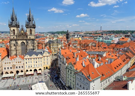 PRAGUE, CZECH REPUBLIC - JULY 3, 2014: Aerial view of the Old Town Square with the Tyn Church from the Old Town Hall. - stock photo