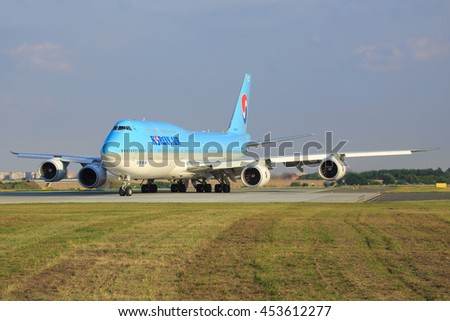 Prague/ CZECH REPUBLIC July 9, 2016: Boeing 748 from KoreanI taxing at Prague Airport - stock photo