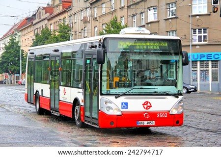 PRAGUE, CZECH REPUBLIC - JULY 21, 2014: Modern city bus Irisbus Citelis 12M at the city street. - stock photo