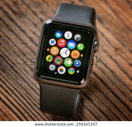 PRAGUE, CZECH REPUBLIC - June 22, 2015: Close-up of Apple Watch. Multiple Apps View. - stock photo