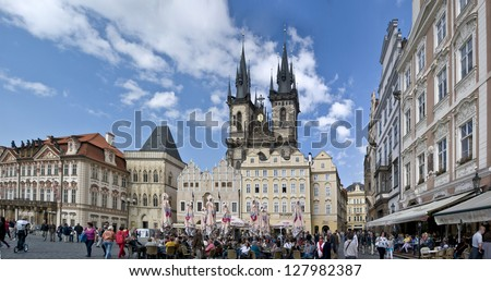 PRAGUE, CZECH REPUBLIC - JUNE 2: Old Town Square June 2,2012 in Prague, Czech Republic. It is the most well known city square (Staromestka nameste). - stock photo