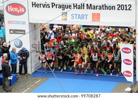 PRAGUE, CZECH REPUBLIC - MARCH 30: Elite runners start in the Hervis Half Marathon, March 30, 2012 in Prague, Czech republic. - stock photo