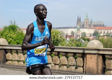 PRAGUE, CZECH REPUBLIC - MAY 3, 2015: Kenyan runner CHEMUNGOR KEMBOI runs the Volkswagen Marathon Prague, May 3, 2015 in Prague, Czech republic. - stock photo