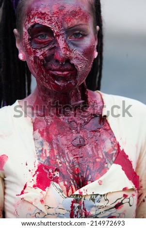 "Prague, Czech Republic, May 24, 2014 - Zombie at the ""2014 Prague Zombie Walk"", in Prague may 25, 2014 - stock photo"