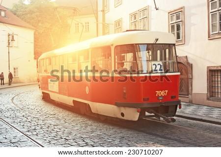 PRAGUE, CZECH REPUBLIC - NOVEMBER 03, 2014: Retro tram Tatra T3R at the Prague street.  - stock photo