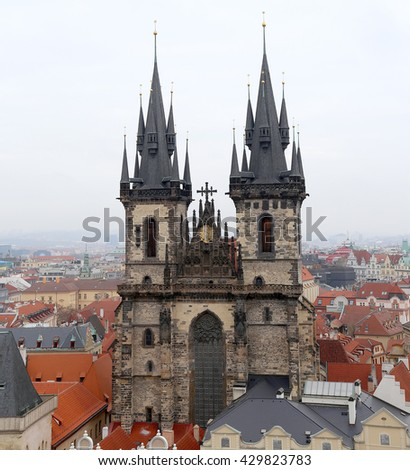 PRAGUE, CZECH REPUBLIC-  NOVEMBER 17, 2014: The gothic Church of Mother of God in front of Tyn in Old Town Square in Prague, Czech Republic   - stock photo