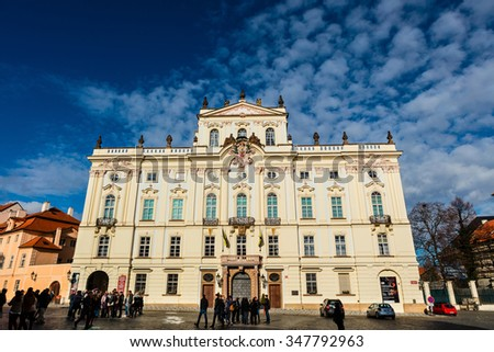 PRAGUE, CZECH REPUBLIC - NOVEMBER 14, 2015:The rococo Archbishop's Palace, inside Prague Castle (the royal Hradcany complex) was rebuilt several times but morphed into rococo between 1669-1694. - stock photo