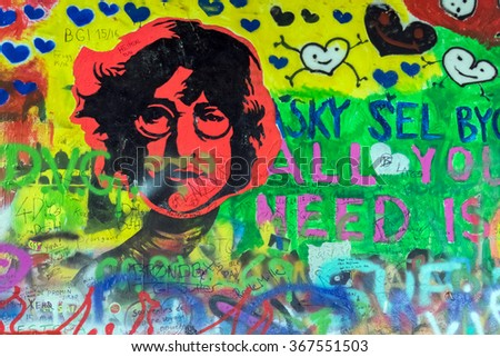 PRAGUE, CZECH REPUBLIC, 15 OCTOBER, 2015: Graffiti with the image of John Lennon and different inscriptions. Wall storage. - stock photo