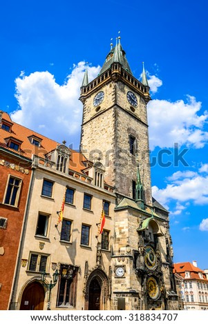 Prague, Czech Republic. Old Town Hall built in 1388, Gohtic architecture style in Bohemia capital city. - stock photo