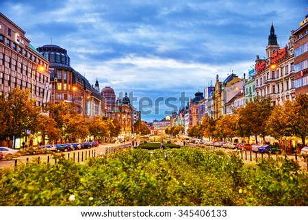 PRAGUE, CZECH REPUBLIC-SEPTEMBER 06, 2015: Buildings, people, night life of the big city on Wenceslas Square one of the central squares of the city. Czech Republic. - stock photo