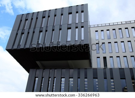 PRAGUE, CZECH REPUBLIC - SEPTEMBER 30, 2015: Detail of modern futuristic architecture building on sky background, Prague, Czech Republic - stock photo