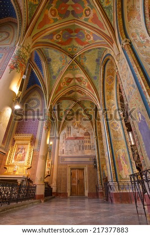 PRAGUE, CZECH REPUBLIC - SEPTEMBER 04, 2014: Interior of the neo-Gothic Saint Peter and Paul Cathedral in Vysehrad fortress, Prague.  In 2003 the church was elevated to basilica by Pope John Paul II. - stock photo