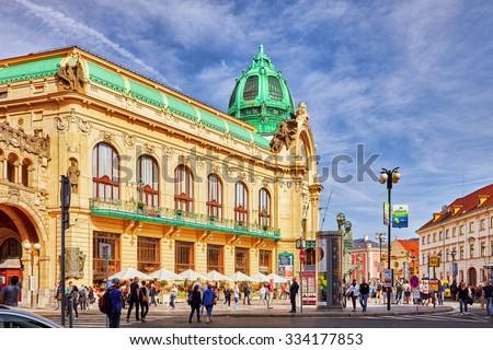 PRAGUE,CZECH REPUBLIC- SEPTEMBER 13, 2015: Municipal House ( Smetana Hall)- a  celebrate concert venue in Old Town Prague near Powder Gate. Czech Republic. - stock photo