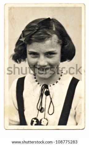 PRAGUE, CZECHOSLOVAK REPUBLIC, CIRCA 1950 - young girl - circa 1950 - stock photo