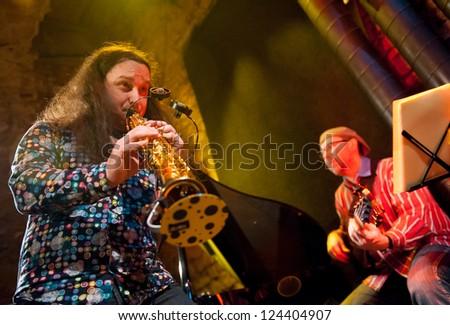 PRAGUE - DECEMBER 31: Rhytm Desperadous group performs in Agharta Jazz Club at the 2013 New Year celebrations on December 31, 2012 in Prague. - stock photo