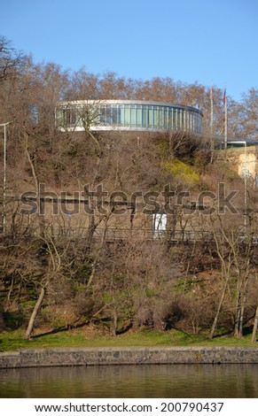 PRAGUE - FEB 23: Famous restaurant building from the exhibition Expo 58. February 23, 2014 - stock photo