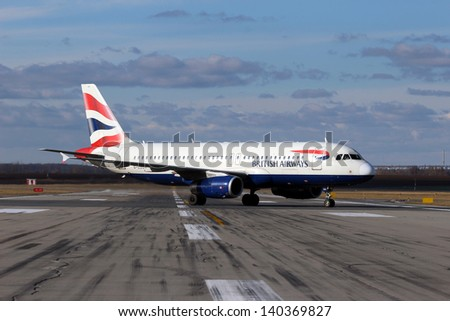 PRAGUE - FEBRUARY 06: British Airways Airbus A320-232 taxiing to take-off from PRG on February  06, 2013. British Airways if the flag carrier airline of the United Kingdom, operating 256 aircrafts. - stock photo