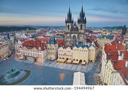 Prague. Image of Prague, capital city of Czech Republic, during sunset. - stock photo