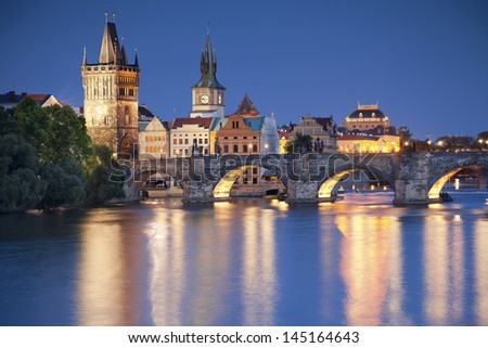 Prague. Image of Prague, capital city of Czech Republic, during twilight blue hour. - stock photo