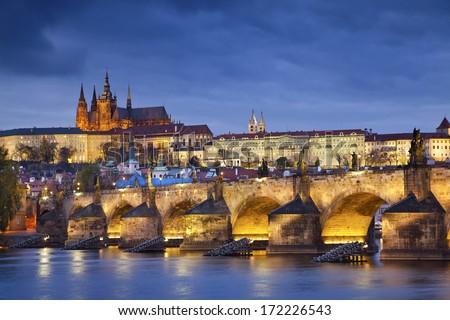 Prague. Image of Prague, capital city of Czech Republic, during twilight blue hour. - stock photo
