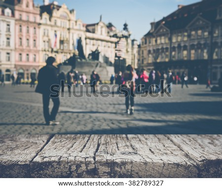 Prague in Czech Republic with Blurred Toursists with Instagram Style Filter - stock photo