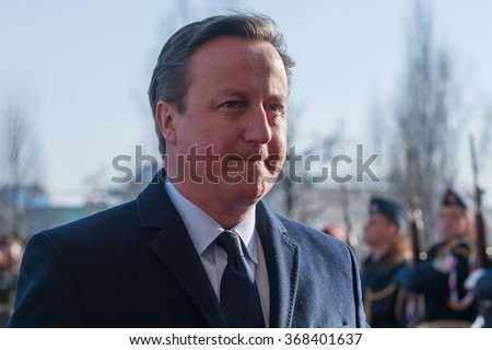 PRAGUE - JANUARY 22: Czech Prime Minister Bohuslav Sobotka, not pictured, welcomes his British counterpart David Cameron, pictured, during visit in Prague, Czech Republic, Friday, Jan. 22, 2016. - stock photo