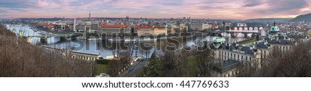 PRAGUE, JANUARY 5: Hill Observatory shows a beautiful view of the bridges and    old town at  January 5, 2014  in Prague, Czech Republic - stock photo