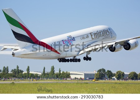 PRAGUE - JULY 01: Emirates Airbus A380 airliner takes off on July 1, 2015 in Prague, Czech Republic. The A380 is currently the largest passenger airliner. - stock photo