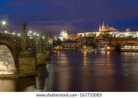 Prague landmark Charles Bridge - stock photo