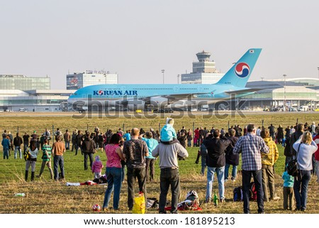 PRAGUE - MARCH 14: Korean Air Airbus A380-861 taxis at PRG Airport in Prague on March 14, 2014. Korean Air is flag carrier and the largest airline of South Korea. - stock photo