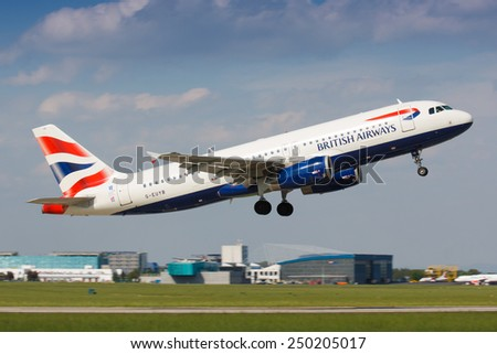 PRAGUE - MAY 15: A320 British Airways take off from PRG in Prague, CZE on MAY, 2012. British Airways (BA) is the flag carrier airline of the United Kingdom - stock photo