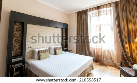 PRAGUE - MAY 9: Room in Eurostars Thalia Hotel on May 9, 2014 in Prague, Czech Republic. Eurostars Thalia Hotel is a popular tourist destination in Prague - stock photo