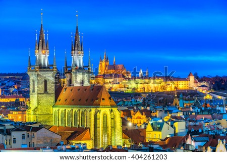 Prague, Night View. Czech Republic - stock photo