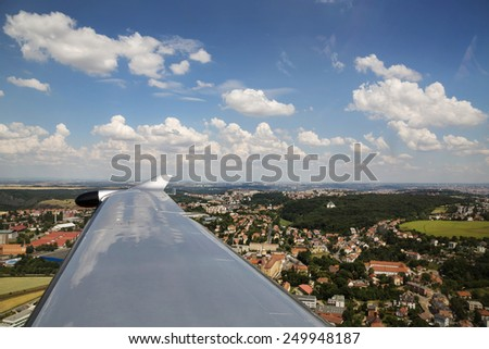 Prague 6 of airplane landing at the airport on a summer day, Prague, Czech Republic - stock photo