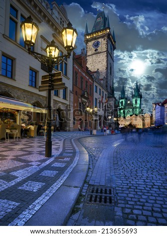 Prague, Old City Hall on the Town Square in the evening, toned image - stock photo