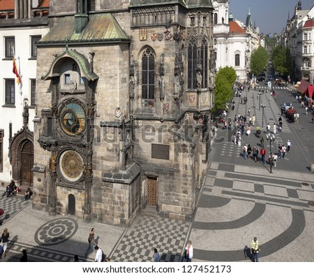 Prague - Old Town Hall, orig. Wolflin House, with Prague Old Town Astronomical Clock - stock photo