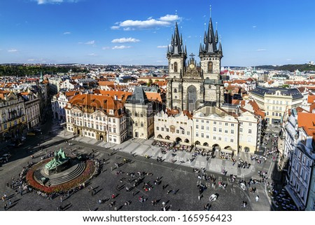 Prague, Old Town Hall (15th Century), Town Square and Church of our Lady Tyn (1365) - stock photo