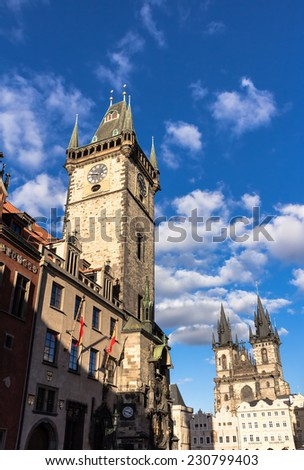 Prague old town square, town hall with astronomical clock - stock photo