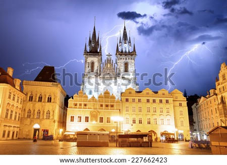 Prague Old town square, Tyn Cathedral at storm - stock photo