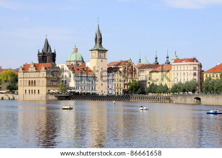 Prague Old Town with the Bridge Tower, Czech Republic - stock photo