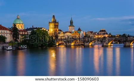 Prague panorama at night - stock photo