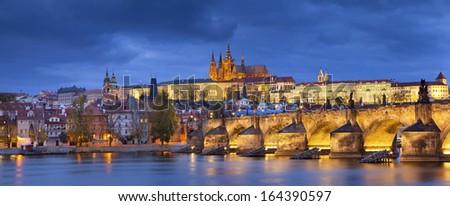 Prague. Panoramic image of Prague, capital city of Czech Republic, during twilight blue hour. - stock photo