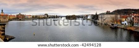 Prague, Panoramic View from Charles Bridge. - stock photo