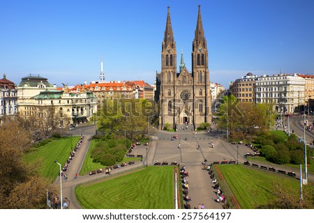 Prague, Peace Square (Namesti Miru) Vinohrady Theatre and the Cathedral of St. Ludmila at  district of Vinohrady, Czech Republic - stock photo