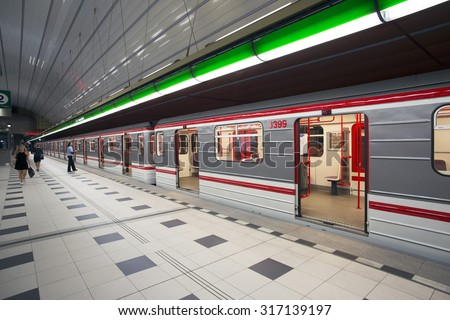 PRAGUE, PETRINY STATION - JULY 24, 2015: Prague Metro's station Petriny, one of four new stations at Line A  was open in 2015. Prague's Metro, founded in 1974 has already three lines and 61 stations.  - stock photo