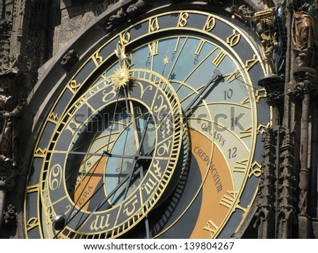 Prague(Praga) - Astronomical clock detailed view. - stock photo