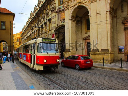 Prague red Tram detail, Czech Republic - stock photo