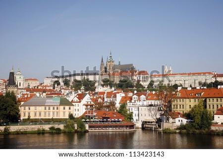 Prague Skyline, include Prague Castle - stock photo