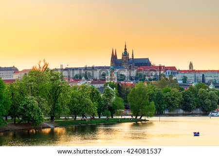 Prague, the Castle and St. Vitus Cathedral at sunset. Czech Republic - stock photo